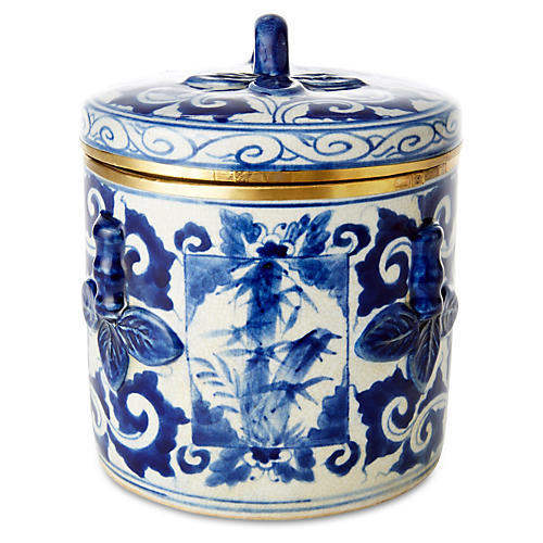 """7"""" Covered Box with Bamboo, Blue/White"""