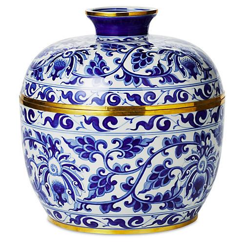 """12"""" Vine Covered Bowl, Blue/White"""