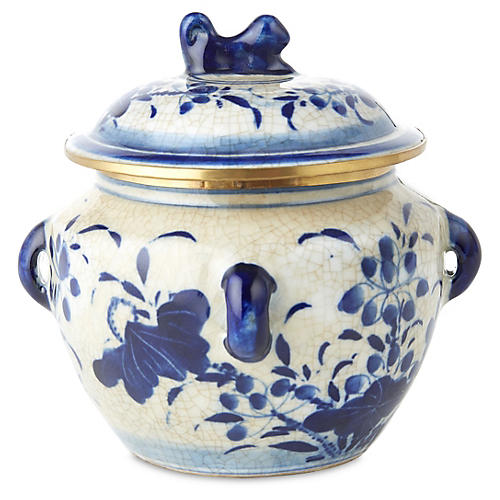 "5"" Lotus Covered Bowl, Blue/White"