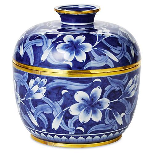 """8"""" Jasmine Covered Bowl, Blue/White"""