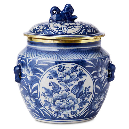 "6"" Foo Dog Two-Panel Canister, Blue"