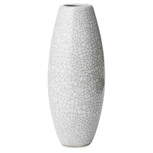 "8"" Crackled Pin Vase, White"