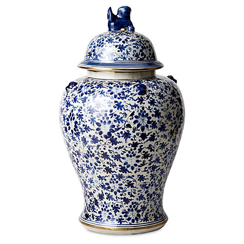 "23"" Porcelain Flower Dog Jar, Blue/White"
