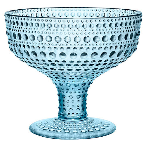 "Kastehelmi 4"" Footed Bowl, Blue"