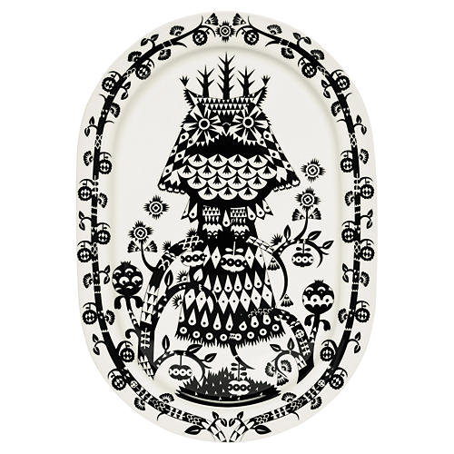 "Taika 16"" Platter, White/Black"