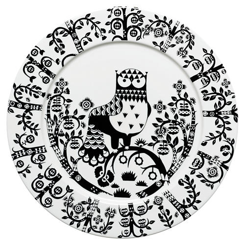 "Taika 11.75"" Dinner Plate White/Black"