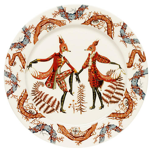 "Tanssi 10.6"" Dinner Plate, White/Multi"