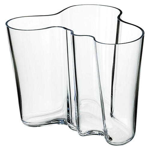 "8"" Aalto Glass Vase, Clear"