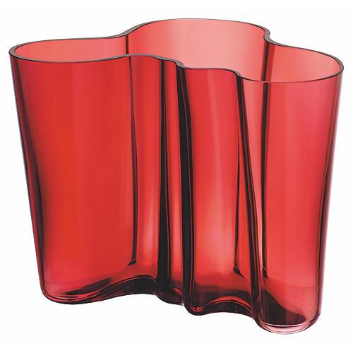 "9"" Aalto Vase, Cranberry"