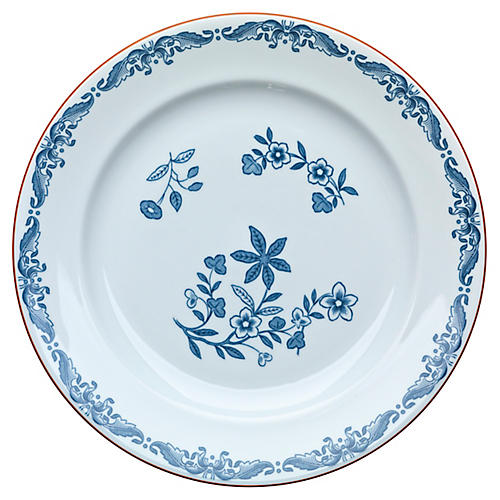 Ostindia Salad Plate, White/Blue