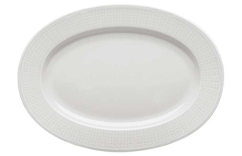 Swedish Grace Oval Serving Plate, Snow