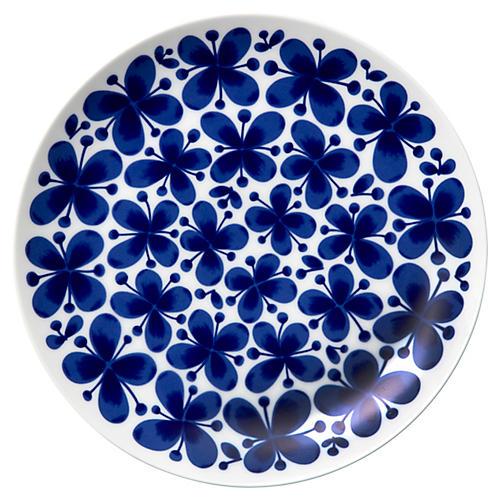 Mon Amie Dinner Plate, White/Blue