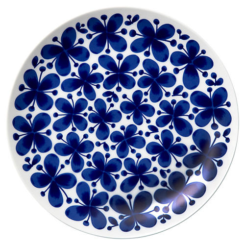 Mon Amie Dinner Plate, White/Blue