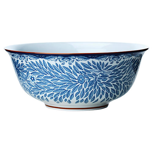 Ostindia Floris Cereal Bowl, White/Blue