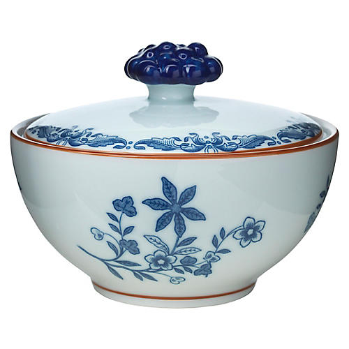Ostindia Sugar Bowl w/Lid, Blue/White