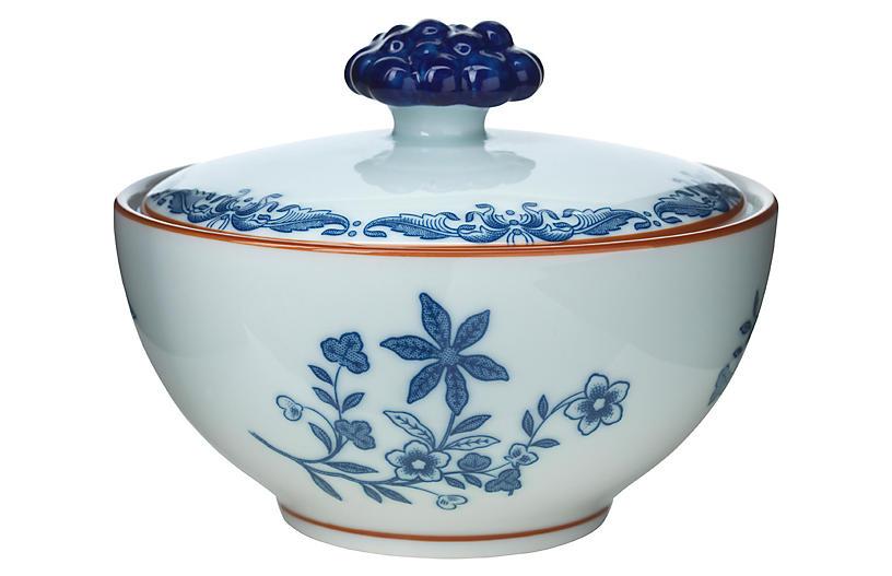Ostindia Sugar Bowl w/Lid, Blue/White