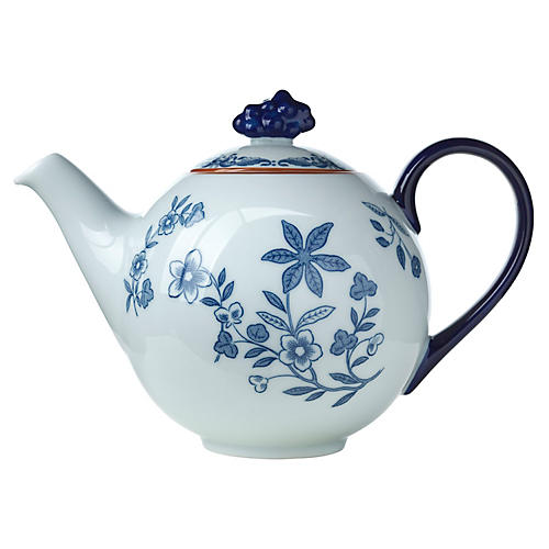 Ostindia Teapot, Blue/White