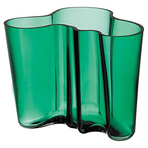 "9"" Aalto Wide Vase, Emerald"