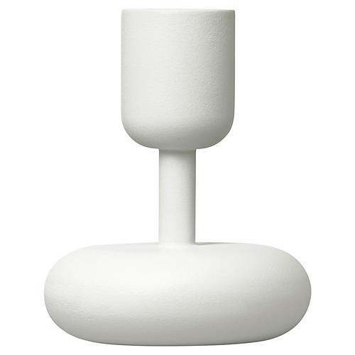 "4"" Nappula Small Candleholder, White"