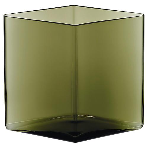 "8"" Ruutu Wide Vase, Moss Green"
