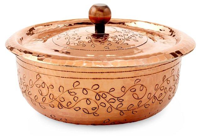 1.3 Qt Copper Engraved Cocotte