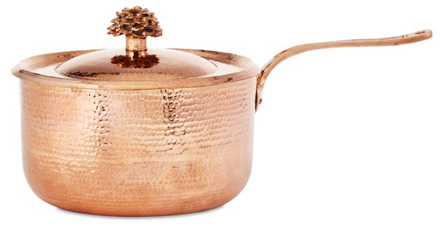 10.41 Qt Copper Saucepan w/ Flower Lid