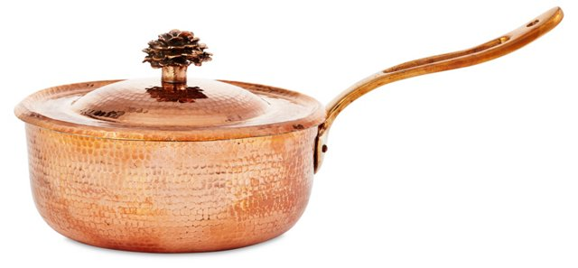 3.5-Qt Copper Sauté Pan w/ Flower Lid