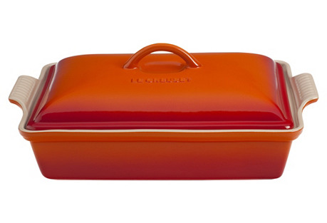 4 Qt Heritage Covered Casserole, Flame