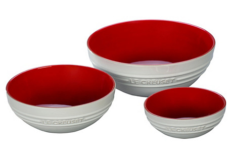 Asst. of 3 Bowls, White/Cerise