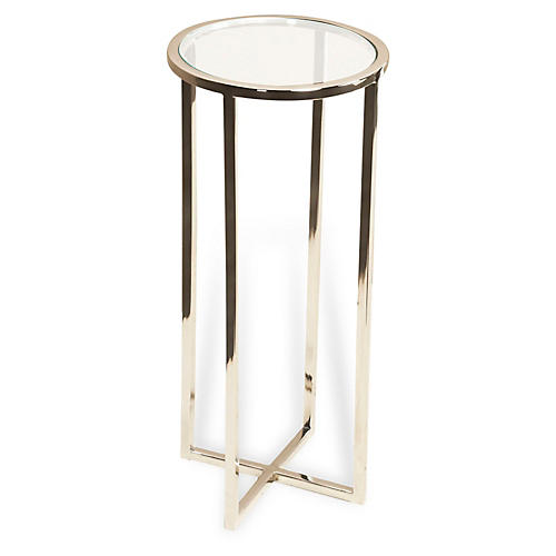 Zander Round Drinks Table, Silver