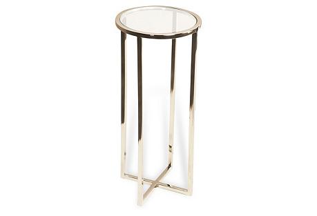 Zander Round Drinks Table, Silver