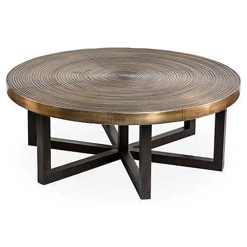 "Reeta 42"" Coffee Table, Brass"