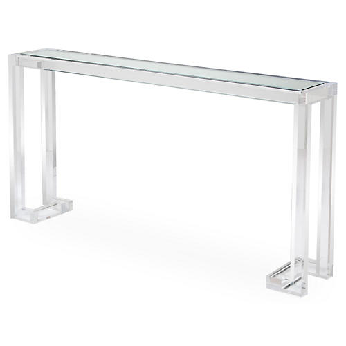 "Ava 60"" Acrylic Sofa Table, Clear"