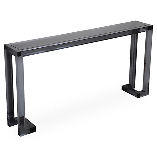 "Ava 60"" Acrylic Sofa Table, Smoke"