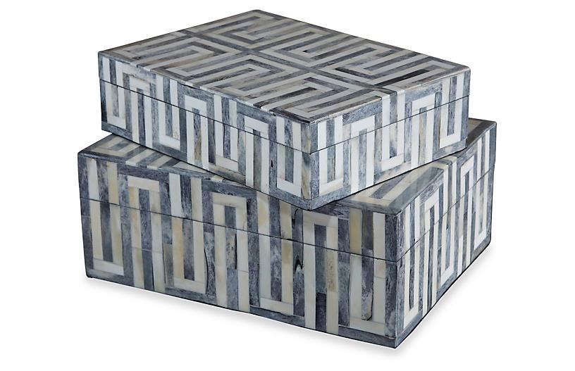 Asst. of 2 Walker Bone Boxes, Gray