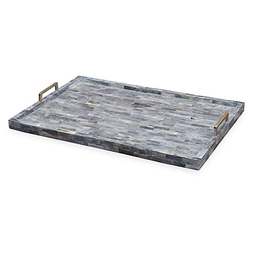 "24"" Rika Bone Tray, Gray"