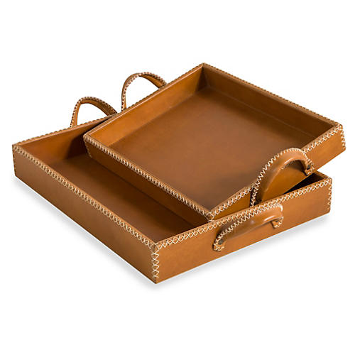 Asst. of 2 Greer Leather Trays, Tan