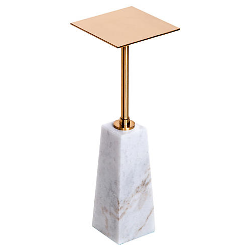 Arnold Marble Drinks Table, Antiqued Brass