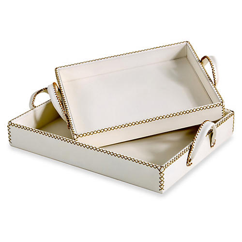 Asst. of 2 Greer Leather Trays, Cream