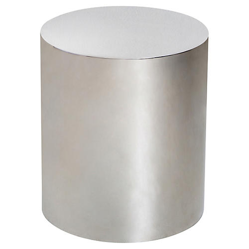 Aubrey Cylinder Side Table, Silver