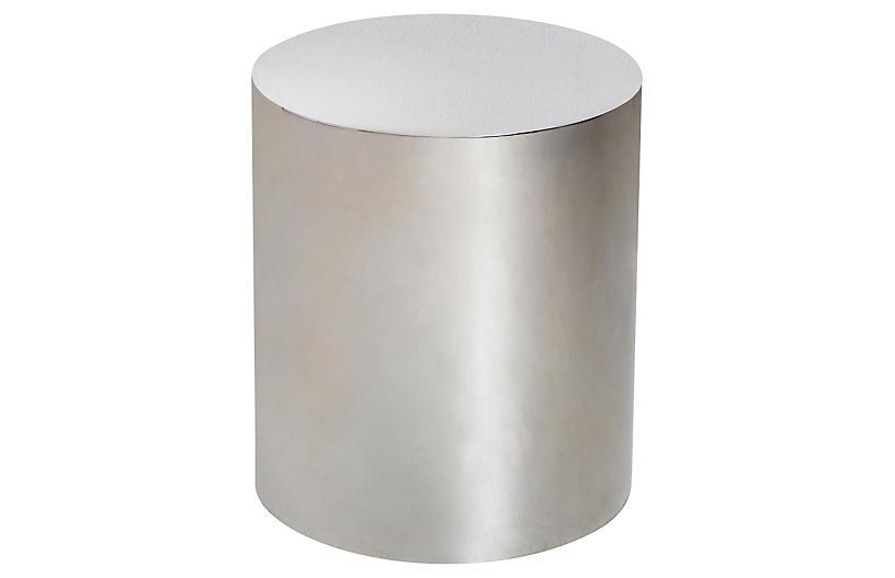 aubrey cylinder side table silver