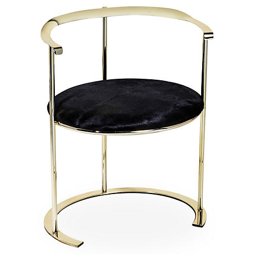 Hayes Hair-on-Hide Chair, Brass
