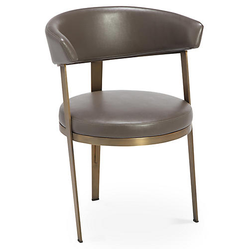 Adele Side Chair, Gray Leather