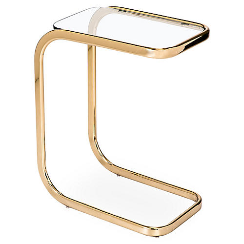 Saber Hugging Side Table, Brass