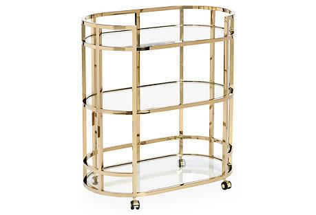 Hayden 3-Tier Bar Cart, Brass