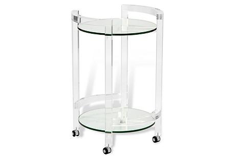 Ava Acrylic Bar Cart, Clear