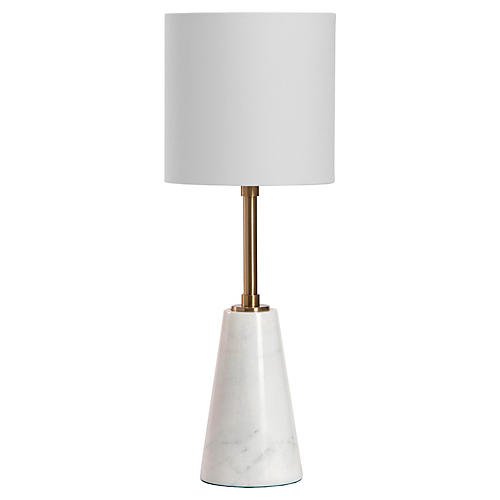 Beck Marble Table Lamp, White/Brass