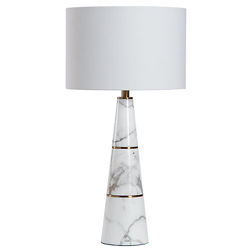 Dex Marble Table Lamp, White/Brass