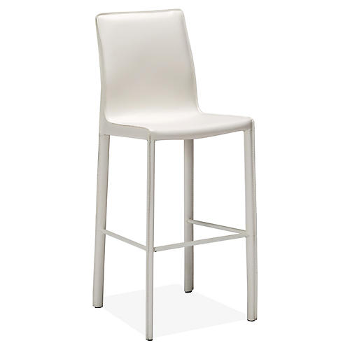Jada Barstool, White Leather
