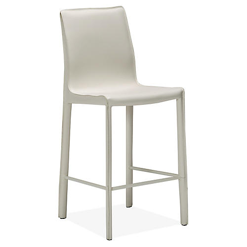 Jada Counter Stool, White Leather